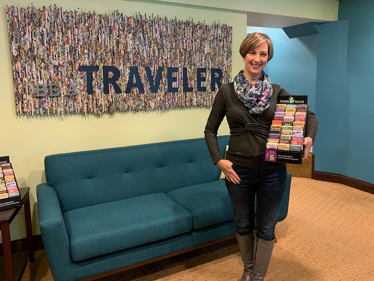 Brandy the little card lady at Traverse Traveler office