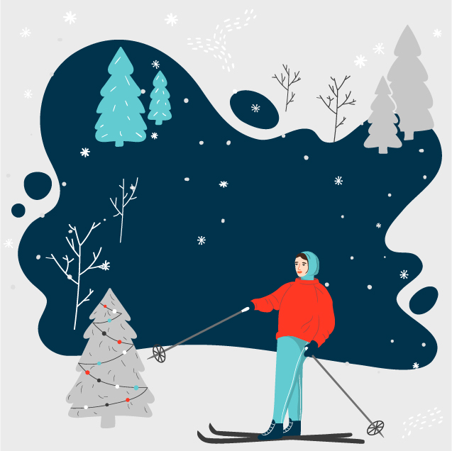 winter skier graphic
